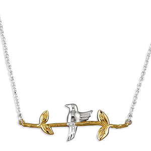 Sterling Silver Bird on 18ct Gold Branch Necklace