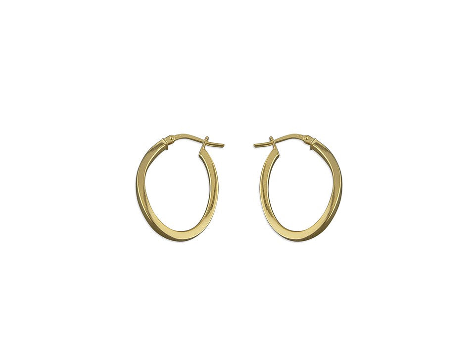 18ct Gold Plated Twist Oval Hoops