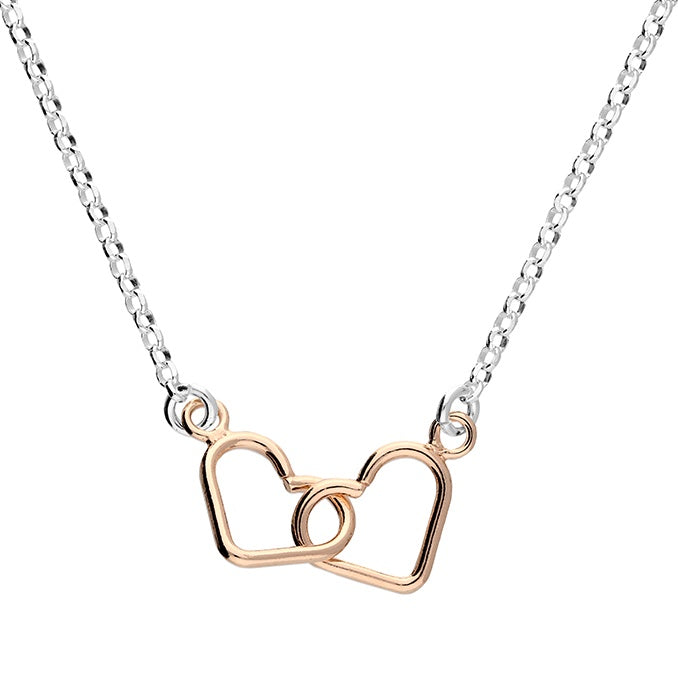 18ct Rose Gold Interlocked Hearts Silver Necklace