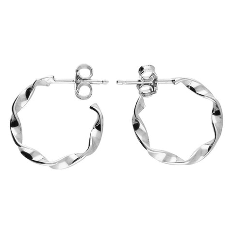Sterling Silver Twist Hoop Stud Earrings