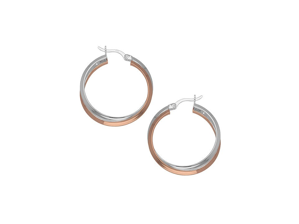 Sterling Silver & 18ct Rose Gold Plated Entwined Hinged Hoop earrings