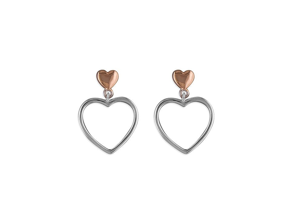 Sterling Silver & 18ct Rose Gold Heart Outline Drop Earrings