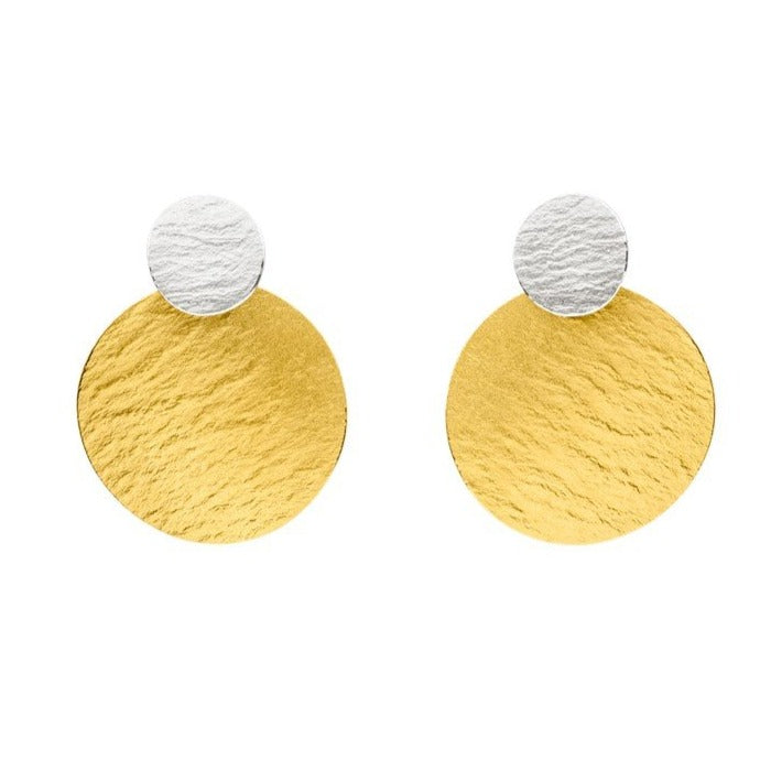 Silver & Gold Discs Earrings