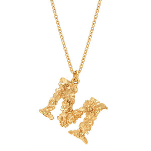 Alex Monroe Gold Floral Letter M Necklace - FLM-GP