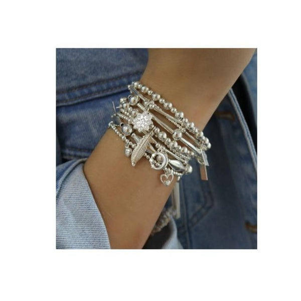 ChloBo Mini Disc Bead with Tassel Silver Bracelet