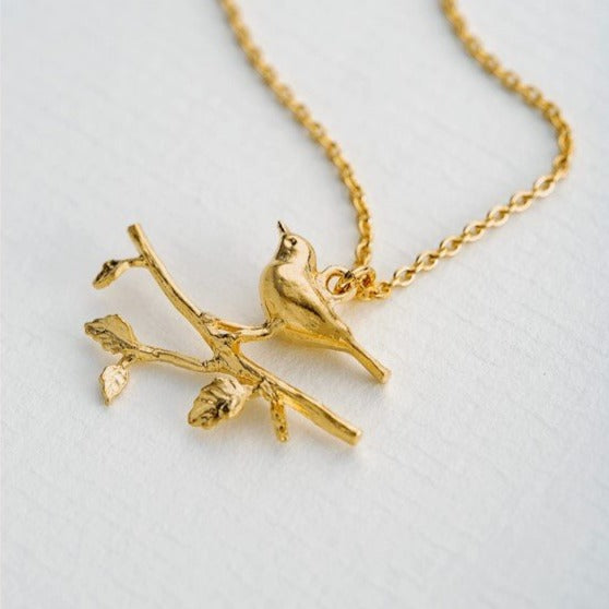 Alex Monroe Gold Perched Warbler Bird Necklace - TCN1-GP