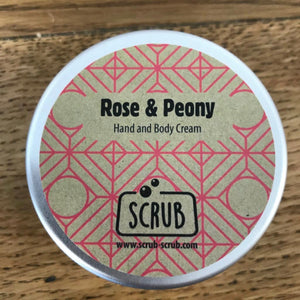 Hand & Body Cream Rose and Peony by Scrub in Tin 100g - NEW