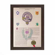 Load image into Gallery viewer, Black Frame Scottish Clan History