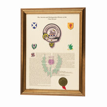 Load image into Gallery viewer, Gold Frame Scottish Clan History