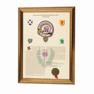 Gold Frame Scottish Clan History