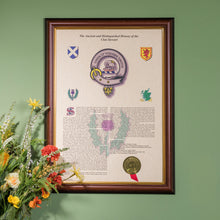 Load image into Gallery viewer, Dark Frame with Gold Inlay Scottish Clan History
