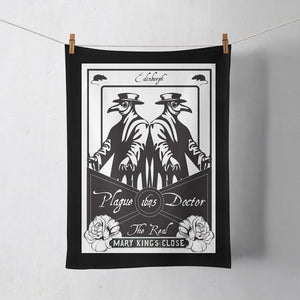 Plague Doctor Tea Towel on Washing Line