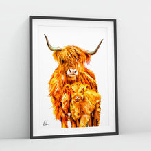 Load image into Gallery viewer, Highland Cow and Calf Print by Als Couzens