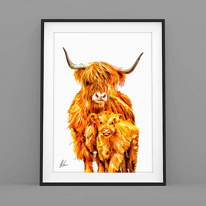Highland Cow and Calf Print by Als Couzens