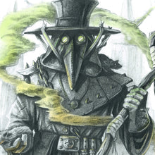 Load image into Gallery viewer, Close Up of A3 Plague Doctor Print by Ross MacRae