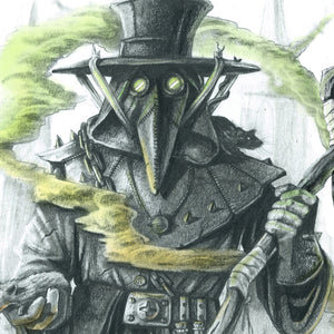 Close Up of A3 Plague Doctor Print by Ross MacRae