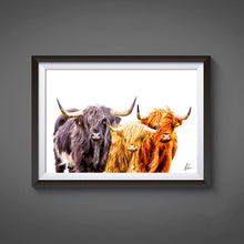 Load image into Gallery viewer, Highland Cow Trio Print by Als Couzens