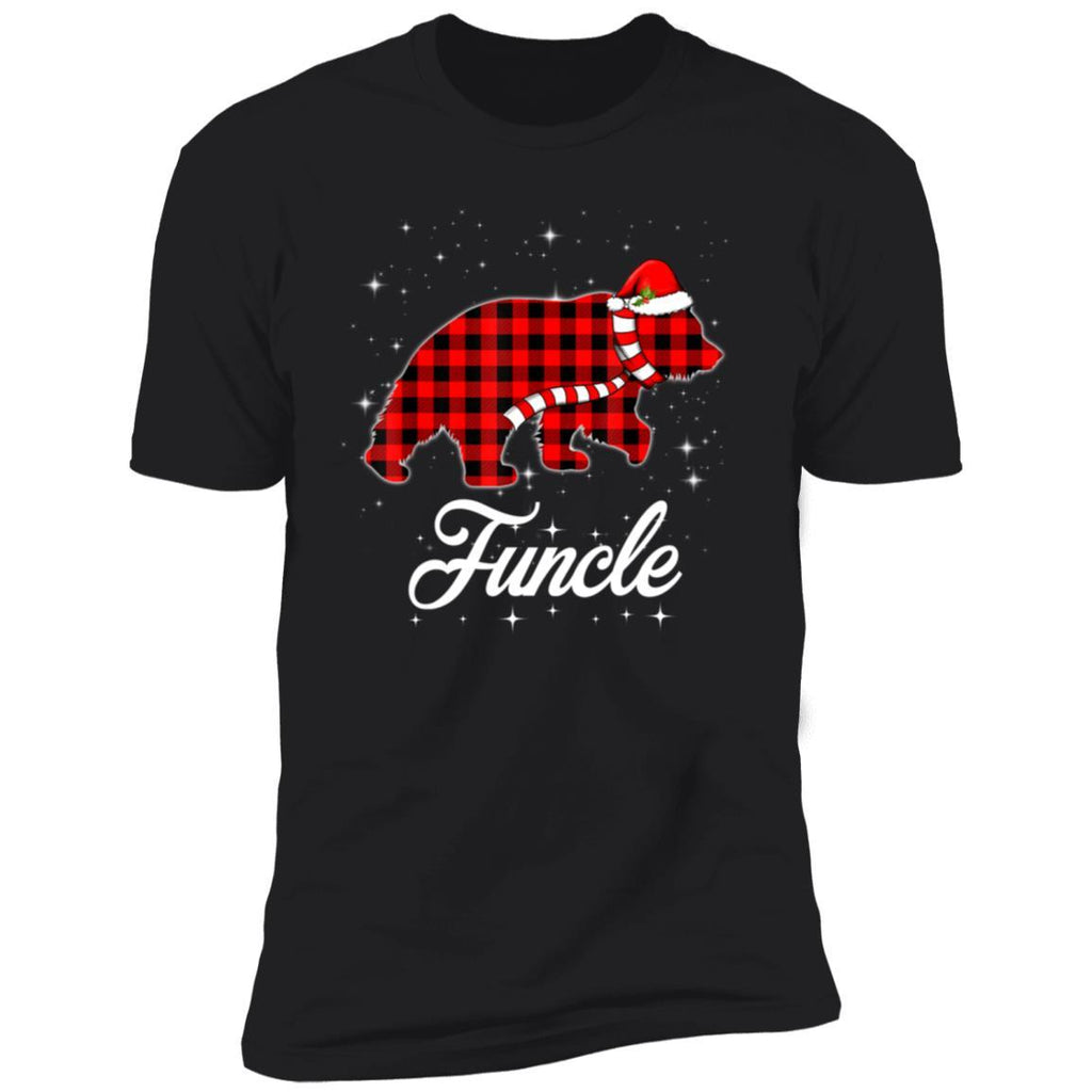Red Plaid Funcle Bear Buffalo Matching Family Christmas T-Shirt
