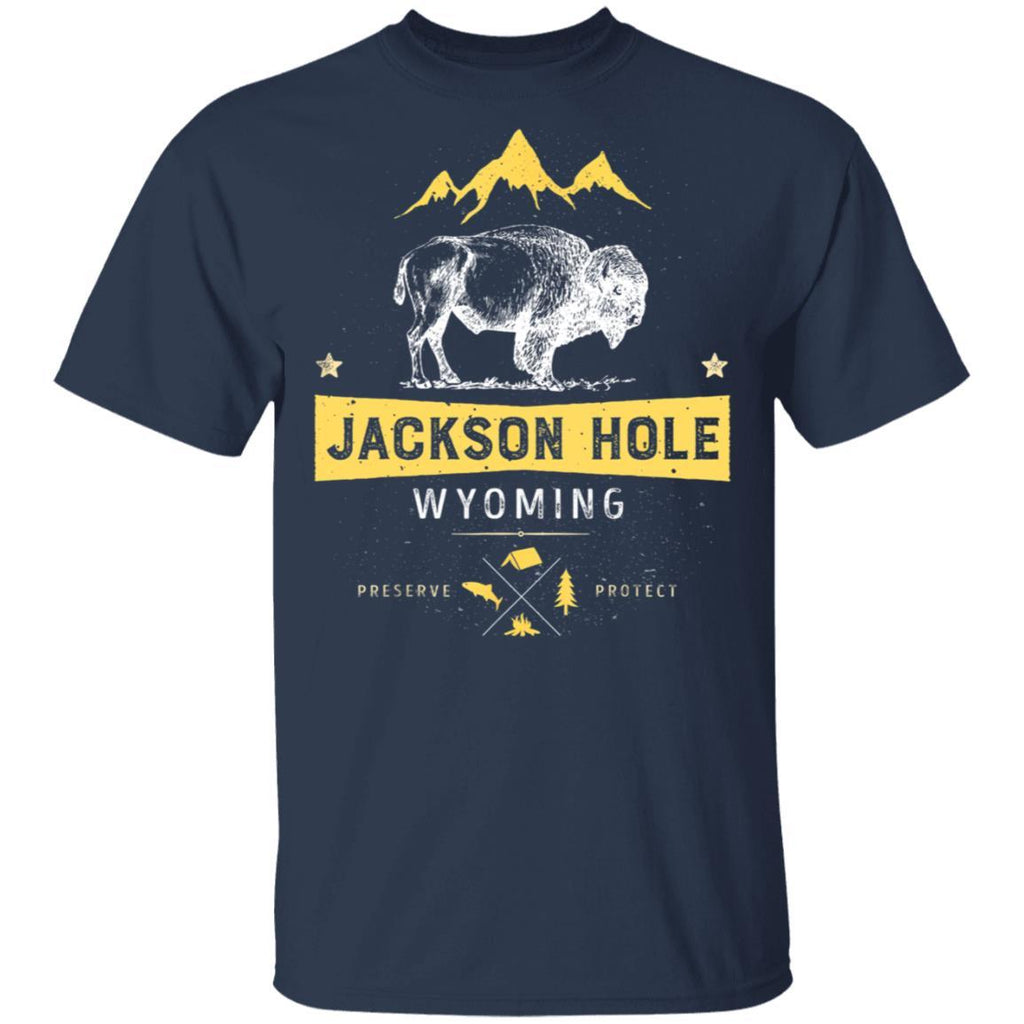 Jackson Hole Wyoming Vintage Bison Buffalo T-Shirt