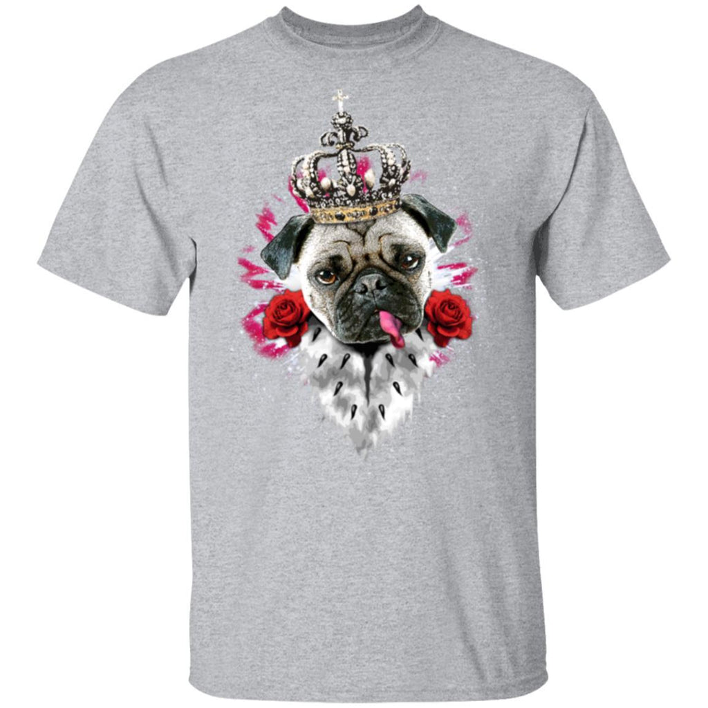 Pug Mops King Queen Heart Roses tongue Dog T-Shirt