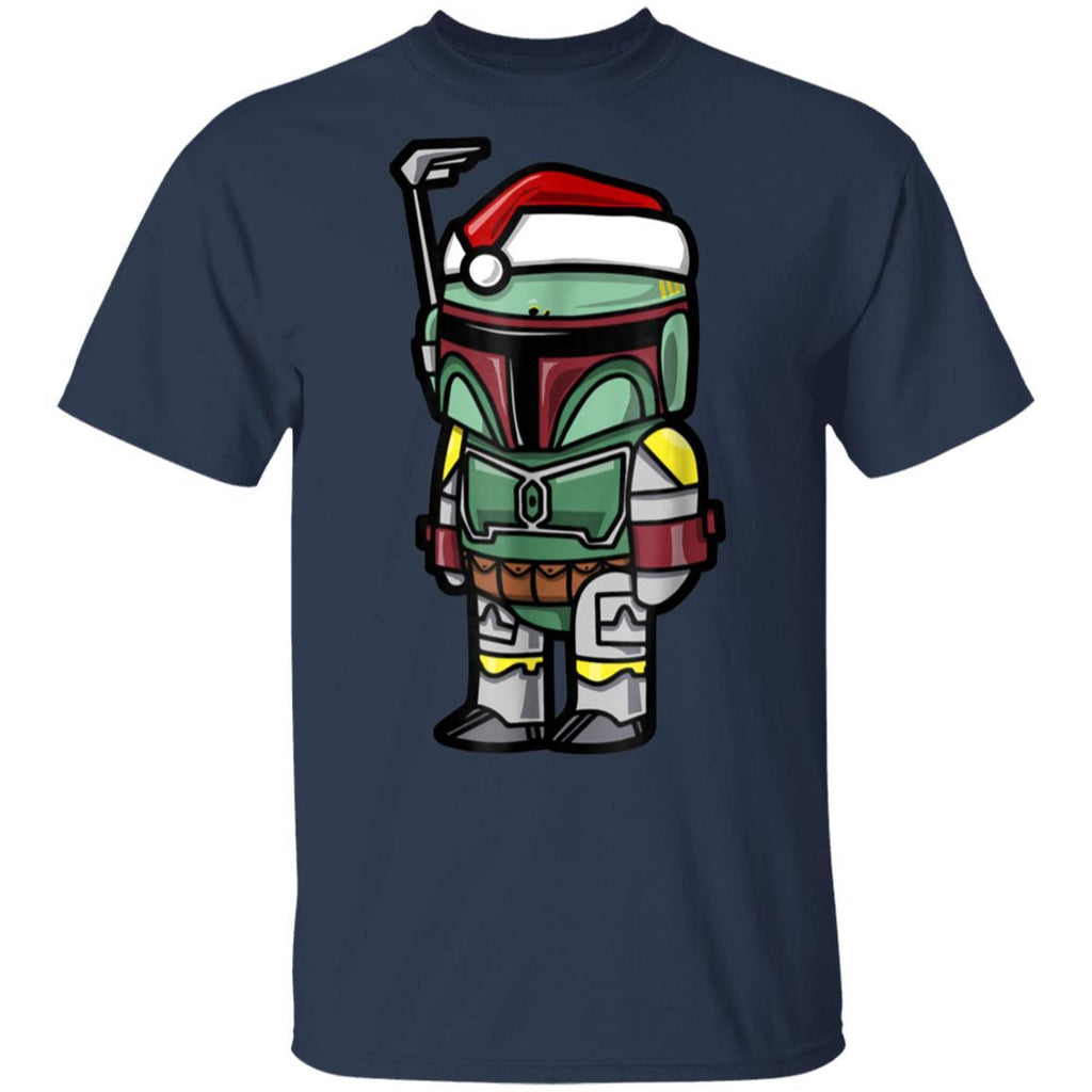 Star Wars Boba Fett Santa Hat Cartoon Christmas T-Shirt