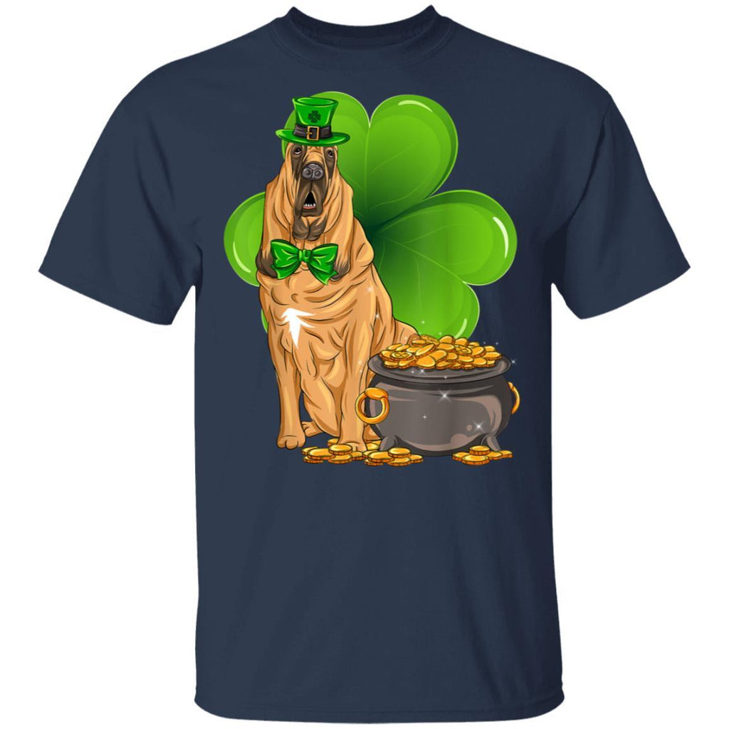 Bloodhound St Patricks Day Leprechaun Dog Lover T-Shirt