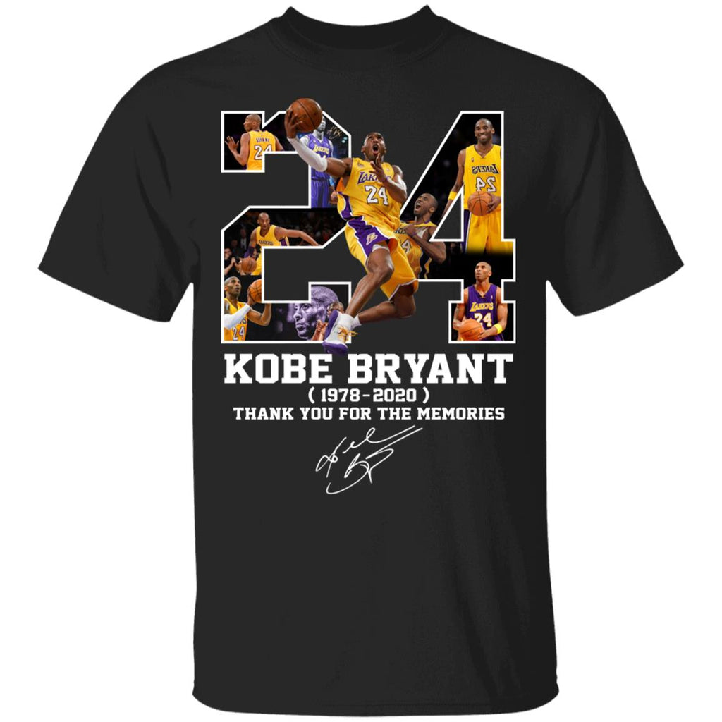 Rip Kobe Bryant 24 1978-2020 Thank you for the memories signature basketball t-shirt Gift for Fan TFD