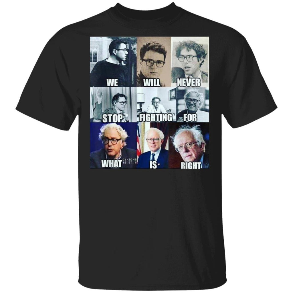 We Will Never Stop Fighting For What Is Right Bernie T-Shirt