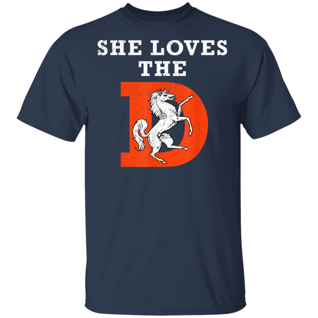 She Loves The Denver D Funny Football T-Shirt