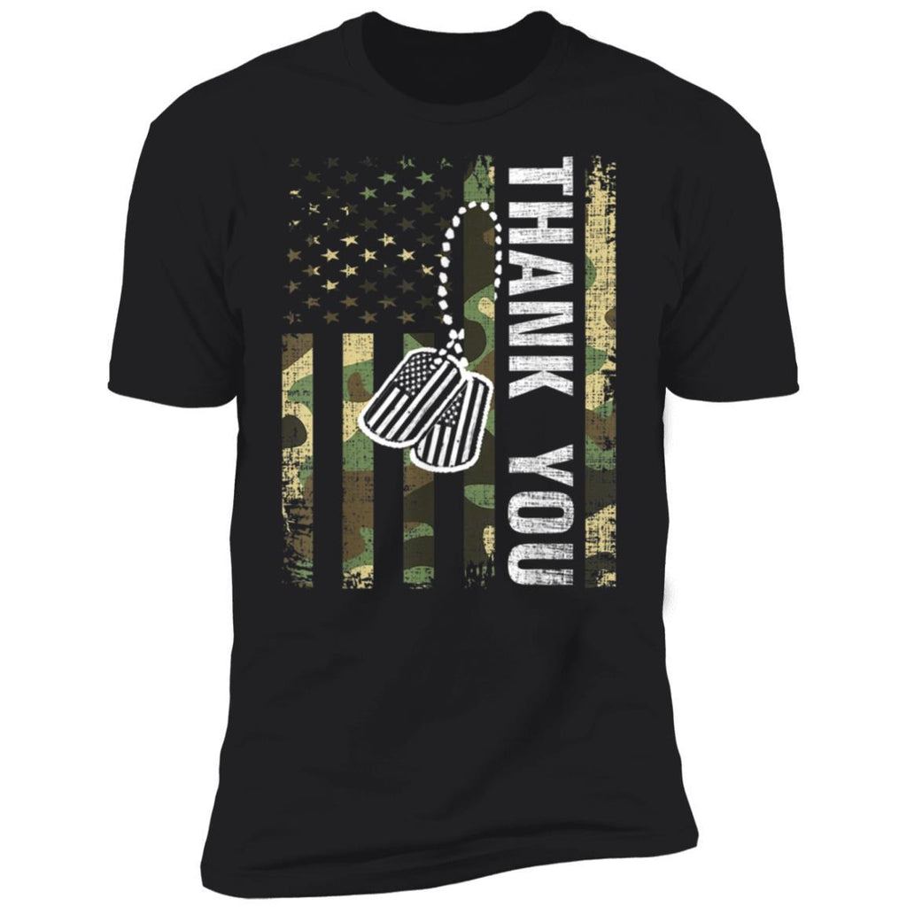 Vintage Camo Thank You American Flag Gift For Veteran Day T-Shirt