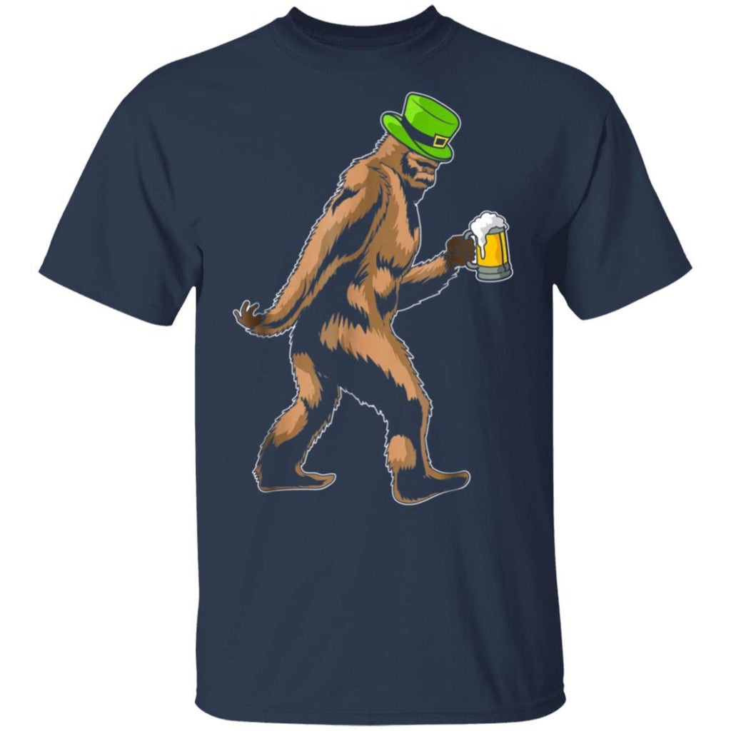 St Patrick's Day Bigfoot With Beer Leprechaun Hat T-Shirt