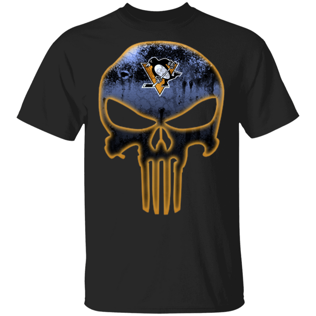 NHL - Pittsburgh Penguins Hockey The Punisher Skull T-Shirt