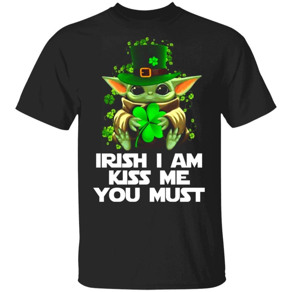 Yoda Baby Irish i am kiss me you must funny st patrick's day gift Tshirt for man women tfd