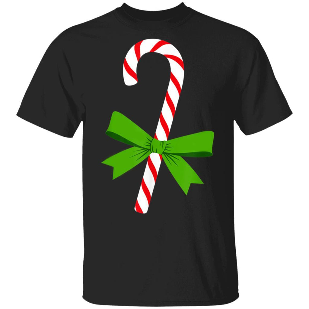 Candy Cane With Green Ribbon Women Men Graphic T-Shirt