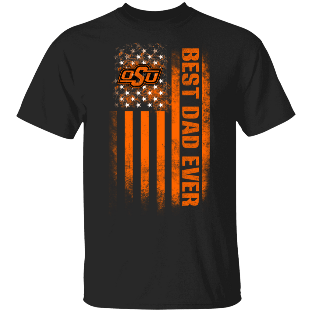 NCAA - Oklahoma State Cowboys Best Dad Ever USA Distressed Flag T-Shirt