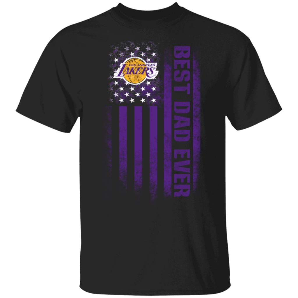 NBA - Los Angeles Lakers Best Dad Ever USA Distressed Flag T-Shirt