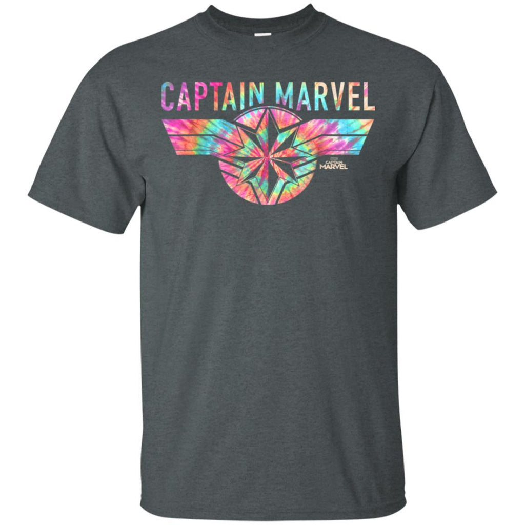Captain Marvel Logo Banner Tie Dye Colors Graphic T-Shirt
