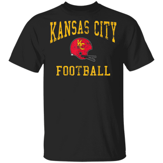 Vintage Kansas City Football OldSchool Retro KC Helmet TShirt