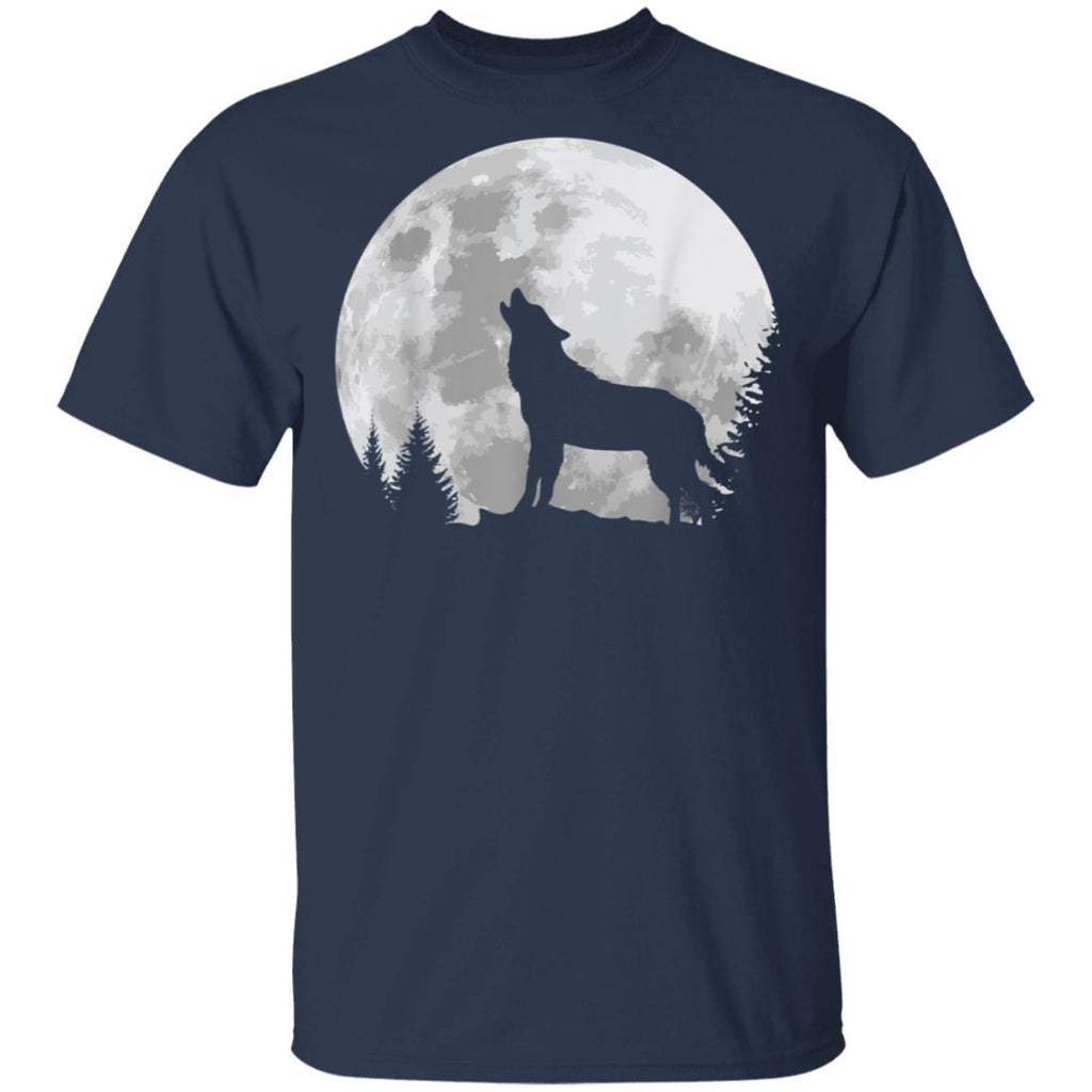 Wolf Gift Full Moon Forest Howling Nature Hunting Gift T-Shirt