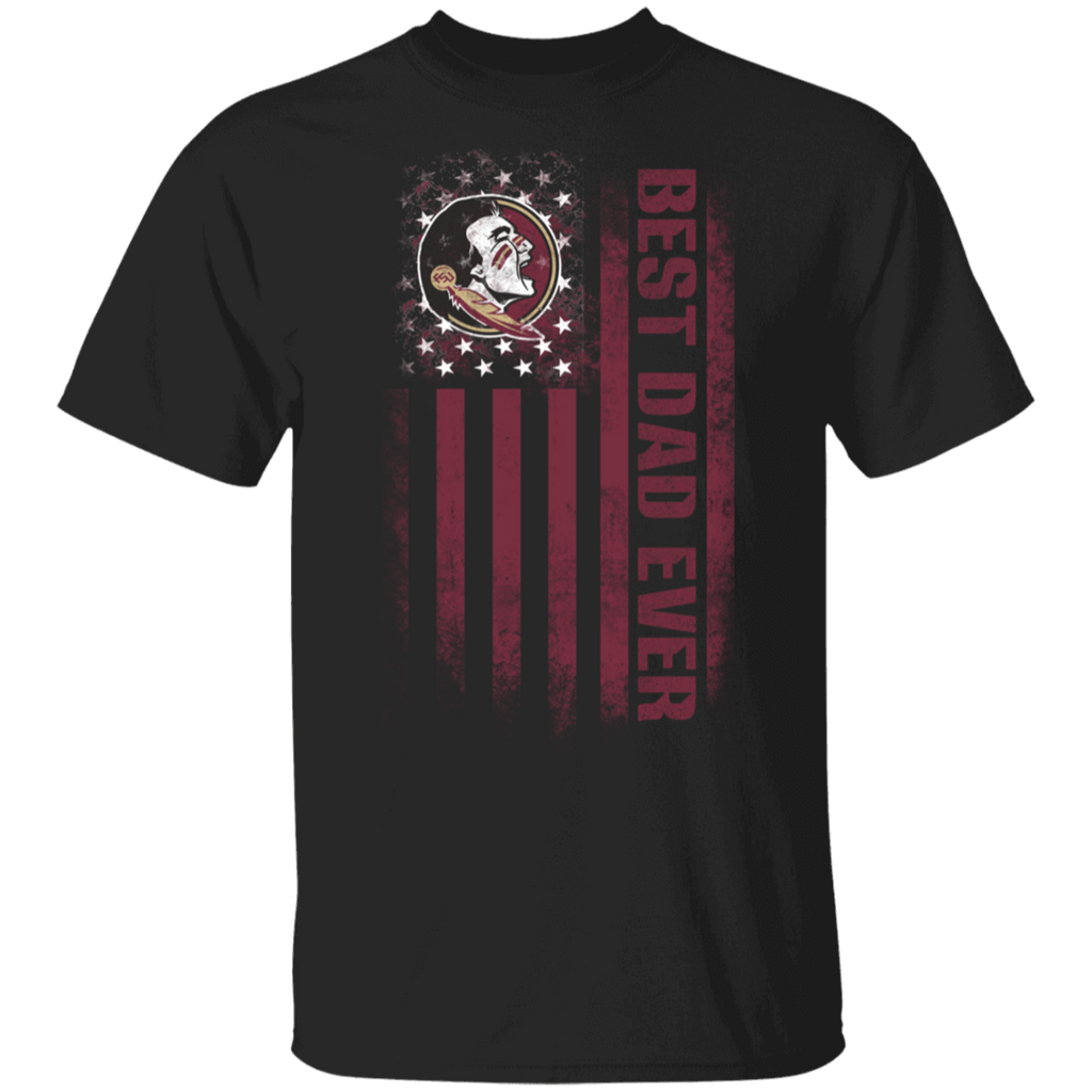 NCAA - Florida State Seminoles Best Dad Ever USA Distressed Flag T-Shirt