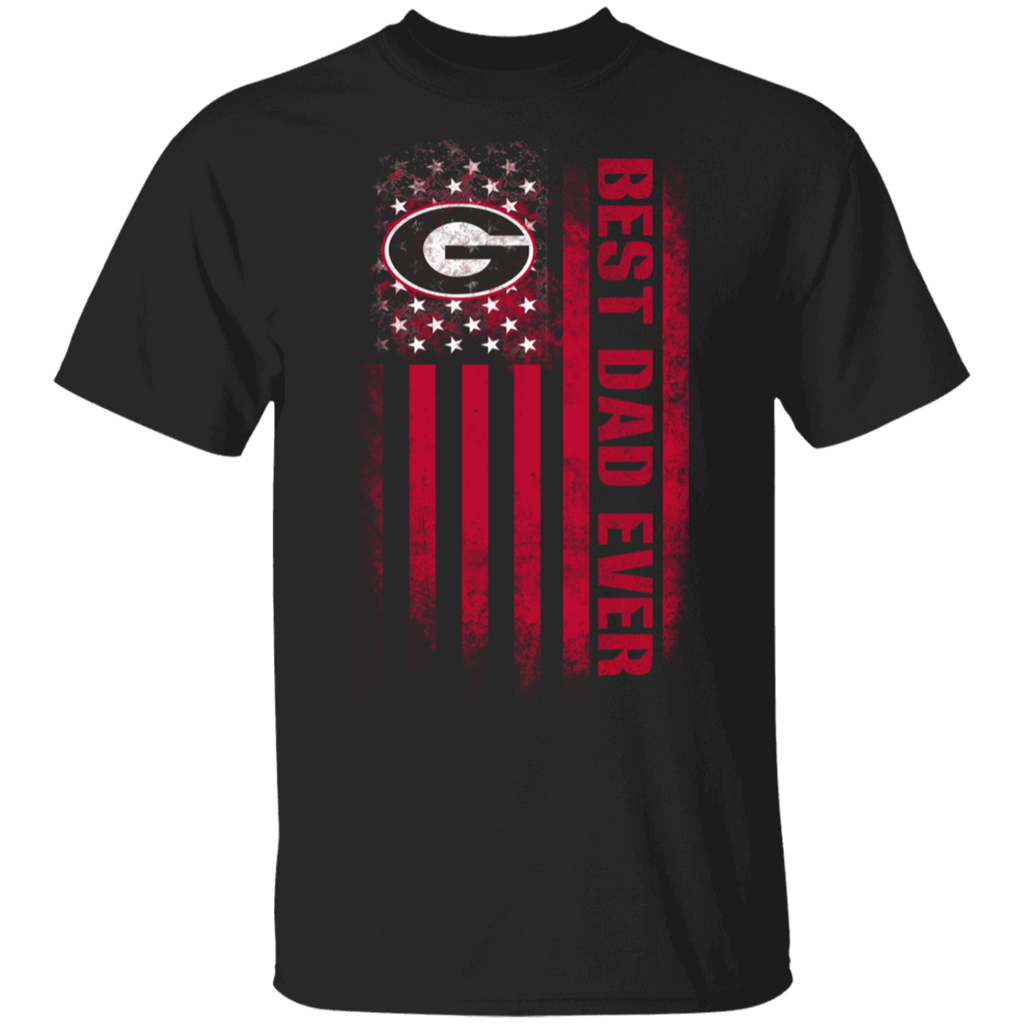 NCAA - Georgia Bulldogs Best Dad Ever USA Distressed Flag T-Shirt