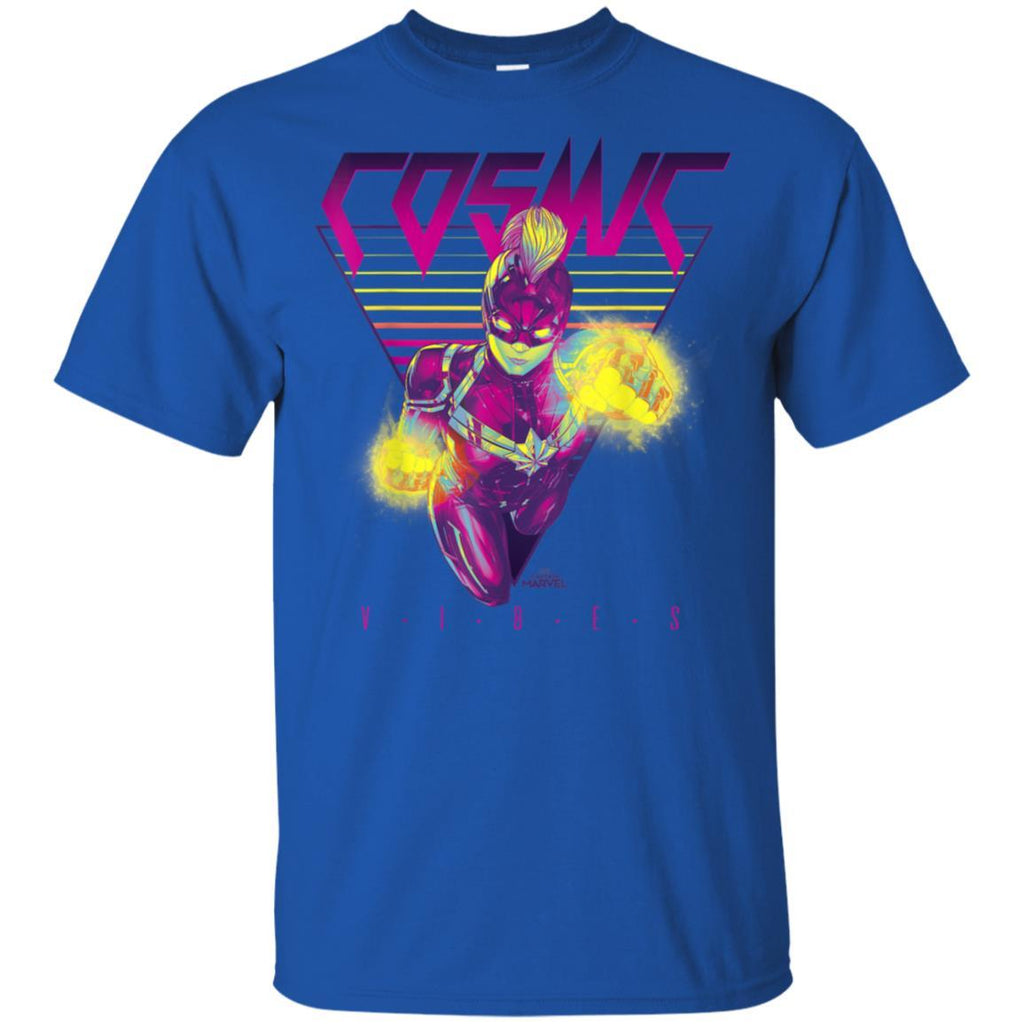 Captain Marvel Cosmic Vibes Retro Triangle Graphic T-Shirt