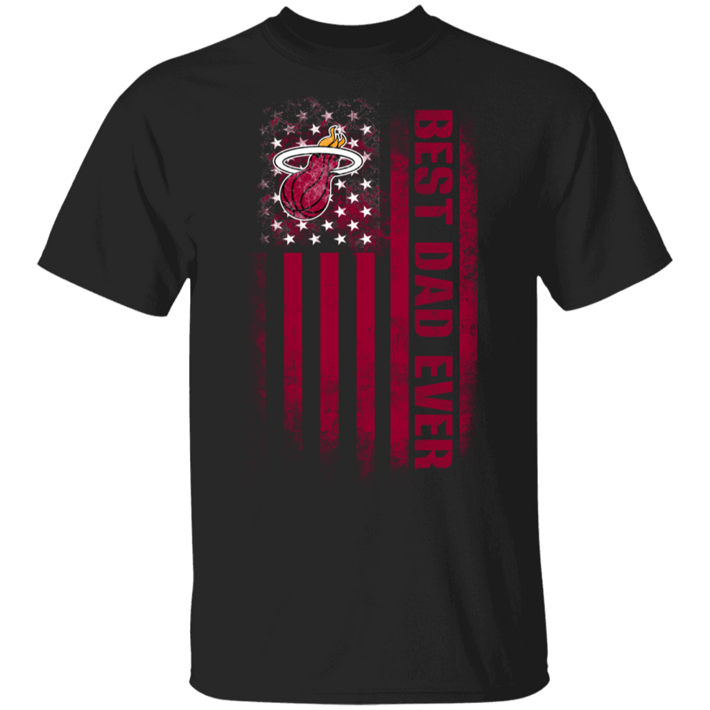 NBA - Miami Heat Best Dad Ever USA Distressed Flag T-Shirt