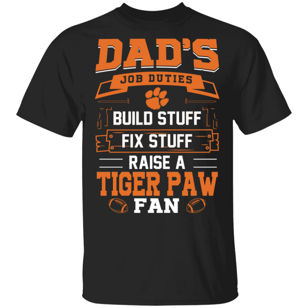 NCAA - Dad Raise a Clemson Tiger Paw Fan Funny T-Shirt