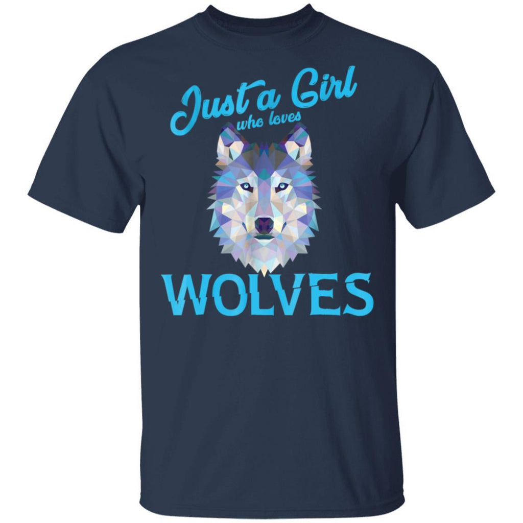 Wolf Shirt for Girls Women - Just a Girl Who Loves Wolves T-Shirt
