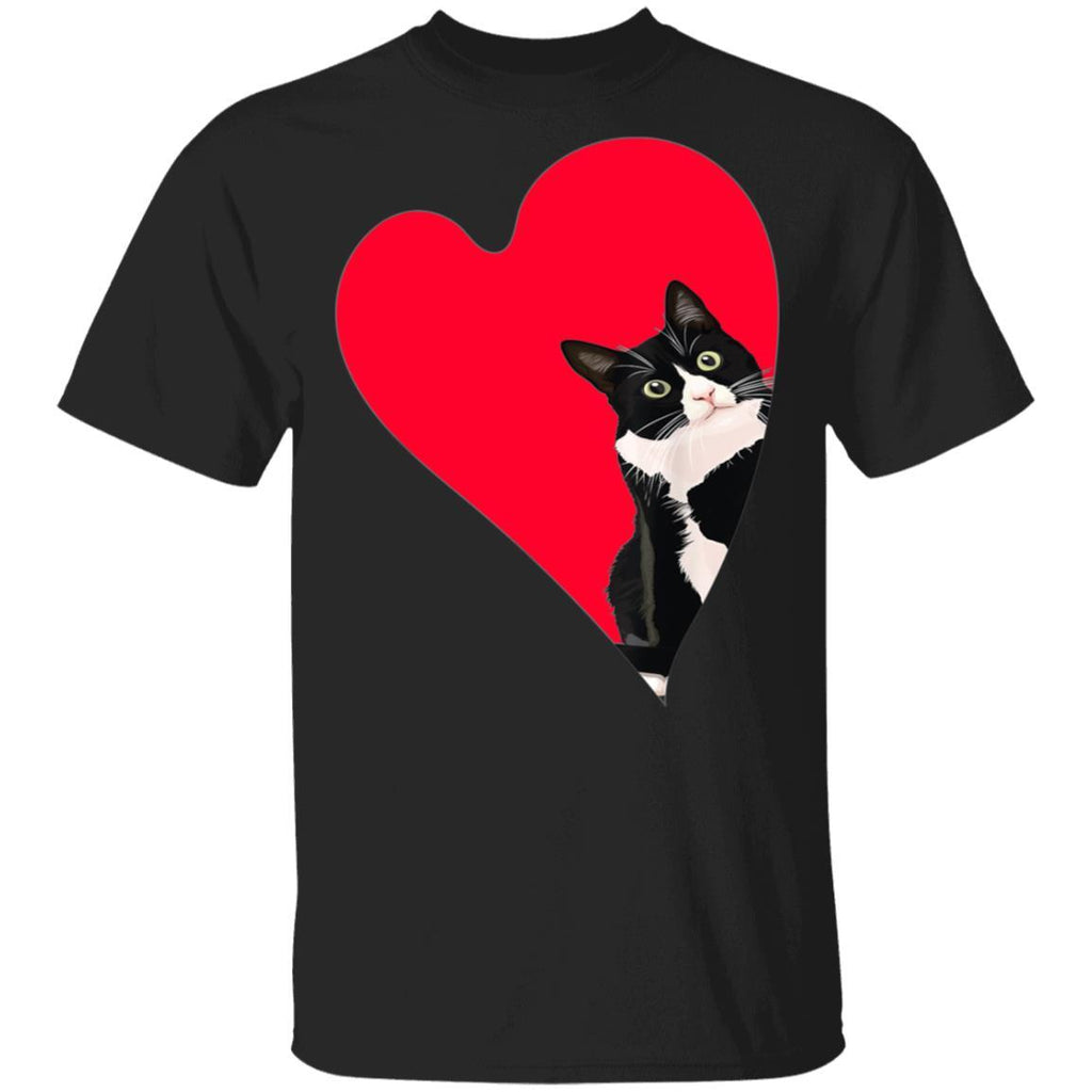 Tuxedo Cat Valentine Heart for Kitten and Animal Lovers T-Shirt