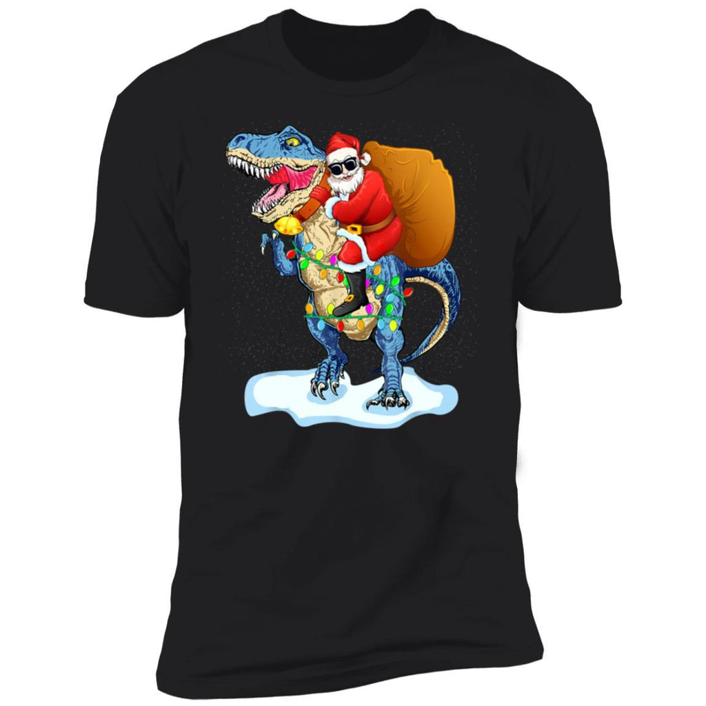 Santa Riding Dinosaur T rex Christmas Gifts Boys Men Xmas T-Shirt