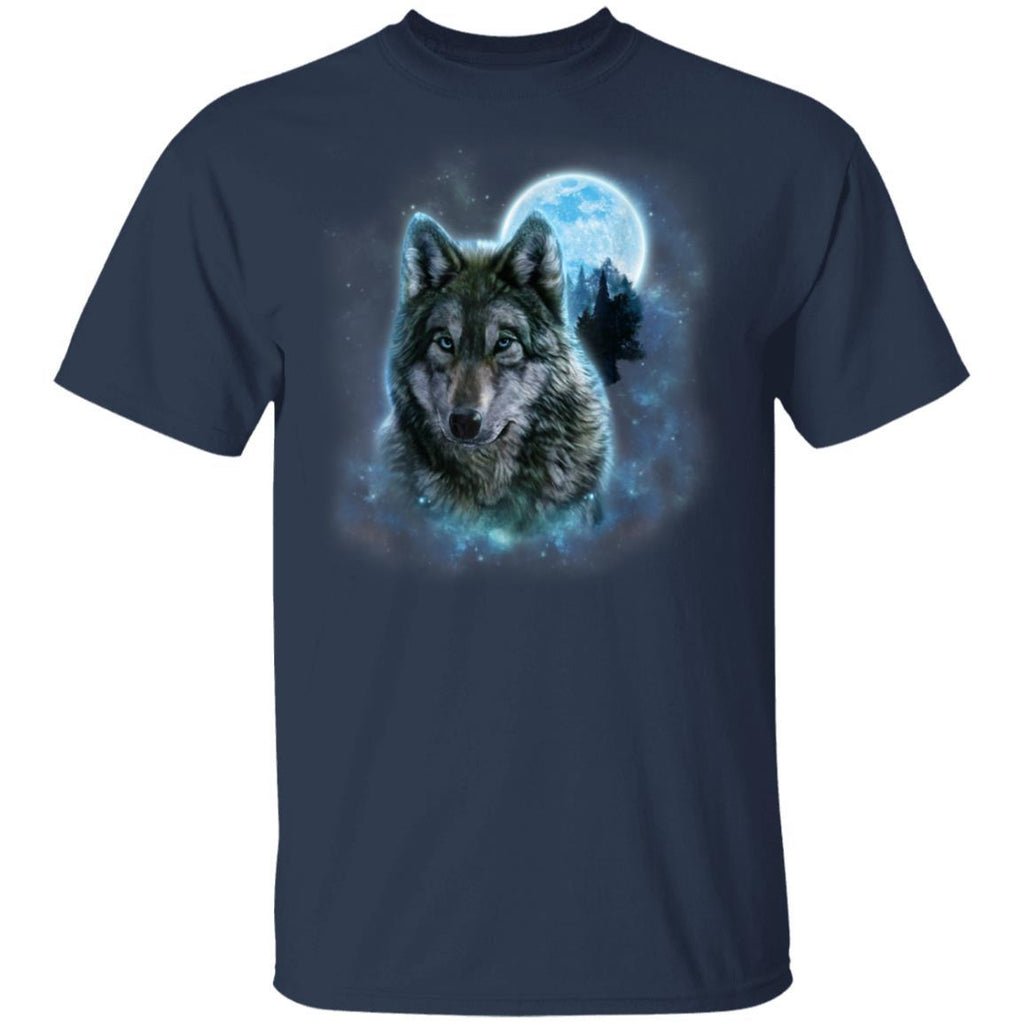 Grey Wolf Hunting Ground, Icy Moon, Forest, Galaxy T-Shirt