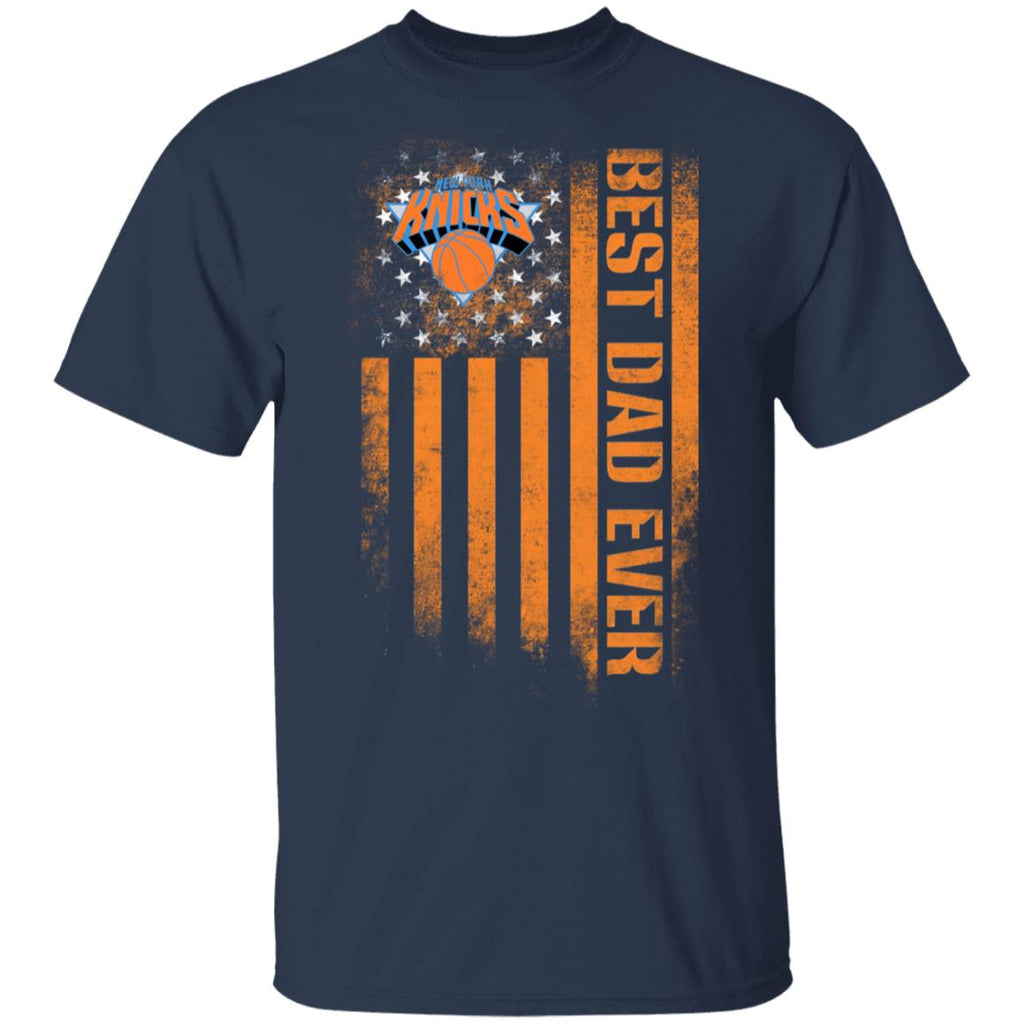 NBA - New York Knicks Best Dad Ever USA Distressed Flag T-Shirt  TFD00003