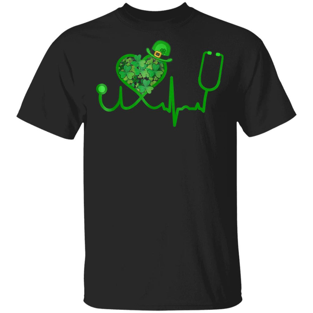Irish Nurse St Patricks Day Stethoscope Heartbeat T-Shirt